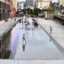 На Демеевской площади появился парк с фонтанами (фото)