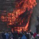 Сожжение гигантского замка «корона-людоеда» на Масленицу показали на видео